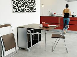 Modern Portable Folding Dining Table With Wheels And Chair Storage Inside  For Saving Small Spaces Ideas ...