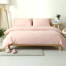 cotton washed fabric vintage style light pink bed cover set solid color sheets bedding twin bedspread light pink
