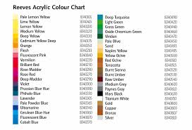 reeves acrylic paint colour chart