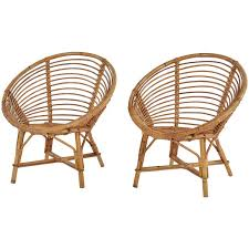 Pair Of MidCentury Bamboo Rattan Chairs From France For Sale