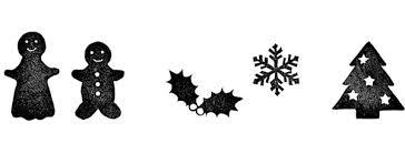 無料素材 クリスマスツリーや雪の結晶に人型のクッキーなどをハンコ風