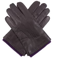 dents men s brown leather gloves purple cashmere lining
