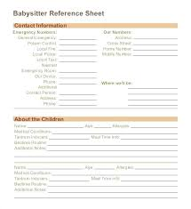 Contact Sheet Babysitter Emergency Form Template Templates For