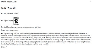 Dying Light Esrb Rating Yo Kai Watch 3 Rated For Nintendo Switch By Esrb