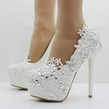 heels for a wedding. elegant heels fashion white lace flower rhinestone pumps wedding shoes for women red color a