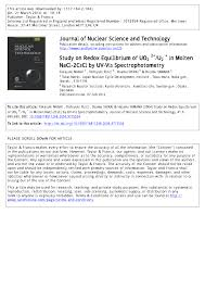 Pdf Study On Redox Equilibrium Of Uo 22 Uo 2 In Molten