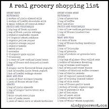 Thanksgiving Grocery List Template Shopping List A Real Grocery Via Lady Goes West Thanksgiving