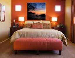 small bedroom wall color ideas. Warm Orange Wall Color With Stylish Table Lamps For Small Bedroom Ideas Couples Using Nice Bench