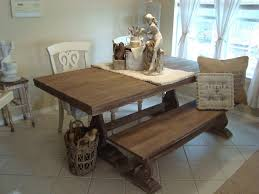 Rustic Kitchen Table With Bench Cnc Homme