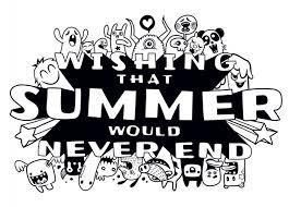 夏の要素の手描きのセットかわいいモンスターの落書きイラスト