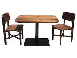 small walnut cafe table and two chairs handcrafted 2692