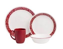 Image is loading Modern-Red-amp-White-Dinnerware-Set-for8-Service- Modern Red \u0026 White Dinnerware Set for8 Service 32 Piece Dining