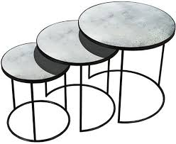 clear heavy aged mirror round nesting side table set of 3 furntastic