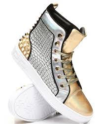 Aurelio Garcia Designer Shoes High Top Studded Metallic Sneakers From Aurelio Garcia At