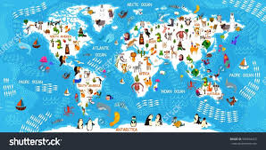 Free Educational Cartoons Cartoon Animal World Map Animals From All Over The World