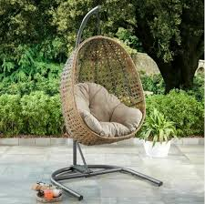 2 seat resin wicker hanging teardrop