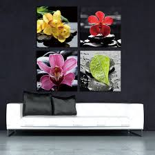 banmu wall art picture canvas wall art set of 4 orchid flower canvas prints for home on orchid flower wall art with banmu wall art picture canvas wall art set of 4 orchid flower canvas