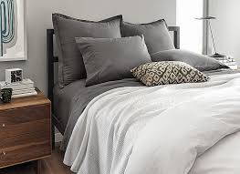 good quality sheets. Perfect Sheets Modern Gray And White Bedding With Steel Bed Frame And Good Quality Sheets A
