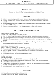 Resume Template For Secretary Resume For A Secretary Office