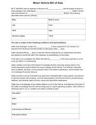 Download Free Motor Vehicle Bill Of Sale Form Form Download