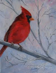 a cardinal sits on the branch of a birch tree and fluffs up his feathers against a winter wind one of my favorite outside birds the cardinal sings lovely