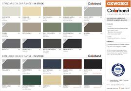 Bluescope Color Chart Hr Oxspec Colorbond Colour Chart 2016 Perth Trade Centre
