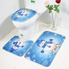 3 pieces/Set <b>Cartoon Christmas Snowman Pattern</b> Soft Anti silp Bath ...