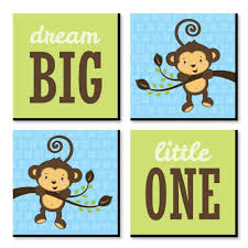4.7 out of 5 stars. Blue Monkey Boy Nursery Decor 11 X 11 Inches Kids Wall Art Baby Shower Gift Ideas Set Of 4 Prints For Baby S Room Bigdotofhappiness Com