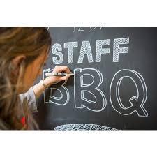 chalkboard paint office. woman using chalkboard paint office