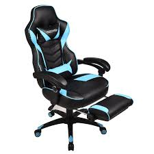 Light Blue Gaming Chair Gaming Chair For Adults With Footrest High Back Swivel Computer Office Chair With Pillows And Lumber Support Black Light Blue