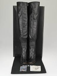 chanel knee high boots. chanel black leather stitch knee high boots size 7/37.5 l
