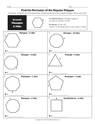 Find the Perimeter of the Regular Polygon Worksheet for 4th - 6th ...