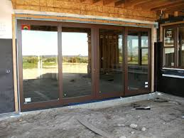 dark brown wood sliding french doors exterior for entryway house design ideas