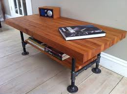coffee table marvellous modern industrial coffee table handmade furniture with solid wooden table and shelf