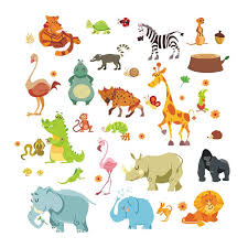 jungle animals wall stickers for kids rooms safari nursery rooms baby home decor poster monkey elephant horse wall decals removable kids wall decals  on jungle animal wall art with jungle animals wall stickers for kids rooms safari nursery rooms