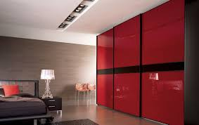 Accessories. Bedroom with Red Wardrobe