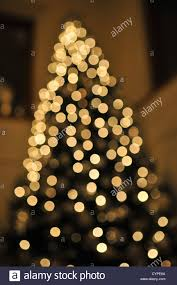 Golden White Soft Blurry Fairy Lights On A Christmas Tree