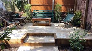 backyard raised patio ideas. Travertine Paving Patio Modern Garden Design Landscaping Earlsfield Wandsworth London Backyard Raised Ideas A