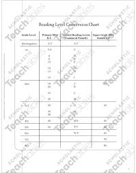 Guided Reading Correlation Chart Scholastic Reading Level Conversion Chart Guided Reading Printable