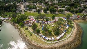 aerial pic of waterfront festival