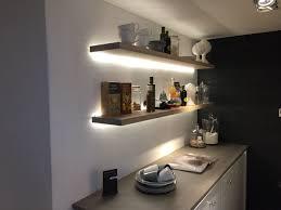 lighting for shelves. Floating Shelves, With Strip Led Lighting On Exposed Brick Wall. Can Inside Shelves For