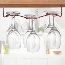 6 wine glass rack stemware under cabinet holder hanger shelf kitchen display