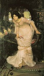 the lady of shalott  waterhouse s the lady of shalott looking at lancelot 1894