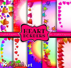Love Heart Page Border Decorations Rainbow Colours Etsy