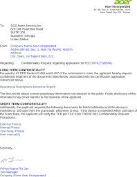 7265ng 7265ngw Cover Letter Confidentilaity Letter Acer Incorporated