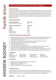 Driver Sample Cv Entry Level Forklift Driver Resume Template Resume
