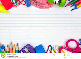 Double Lined Paper School Supplies Double Border On Lined Paper Background Stock Photo 20