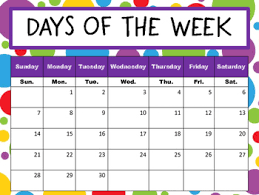 Days Of The Week Chart Days Of The Week Chart