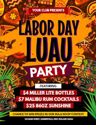 Luau Flyer Labor Day Luau Party Flyer Poster Template Luau Party Flyers