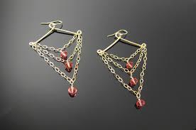 boho earrings gold filled chandelier drop earrings with swarovski crystal pink orange padparadscha